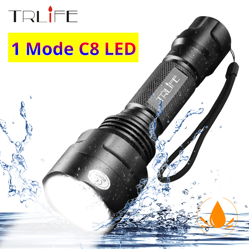 C8 1 Mode Professional Hunting Flashlight Tactical Flash Light  T6 L2 LED Torch Waterproof Aluminum Hiking For Camping Use 18650