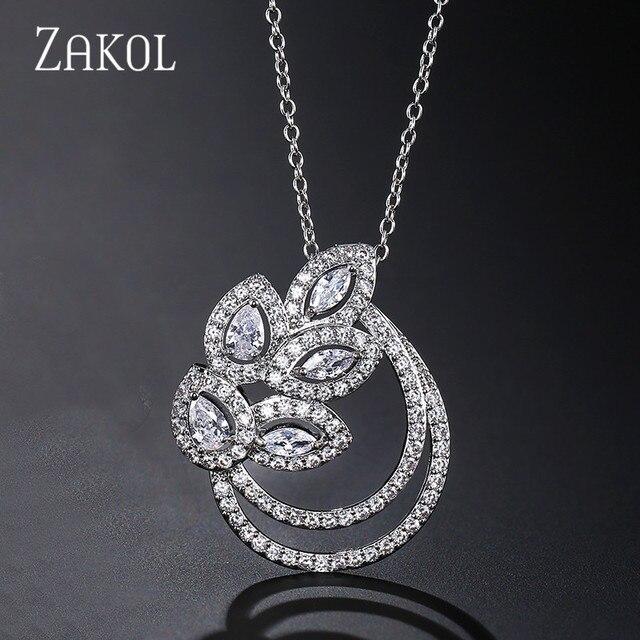 ZAKOL mode cubique zircone breloque feuille pendentif colliers pour femmes fille de mariage fête bijoux cadeau FSNP2041