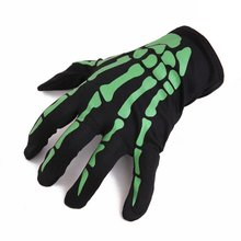 Halloween Gloves Horrible Skeleton Finger Bone Ghost Claw Printed Long Sleeve Washable Arm Warmers Scary Cosplay Costume Decor(China)