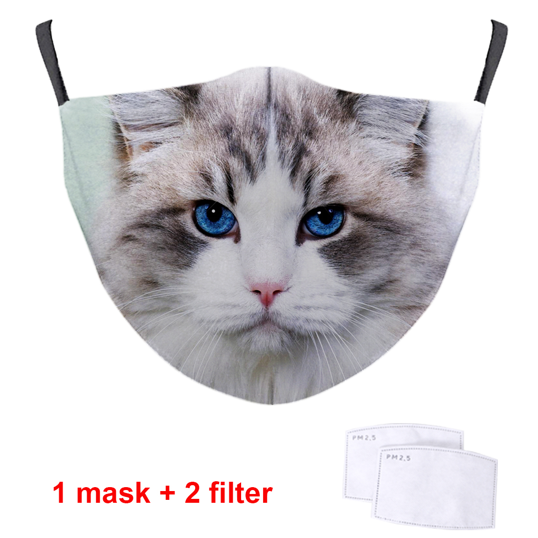 Cute Cat Print 3D Masks PM2.5 Filters Face Mouth Muffles High Quality Streetwear Masks Reusable Soft Washable Masks Respirator