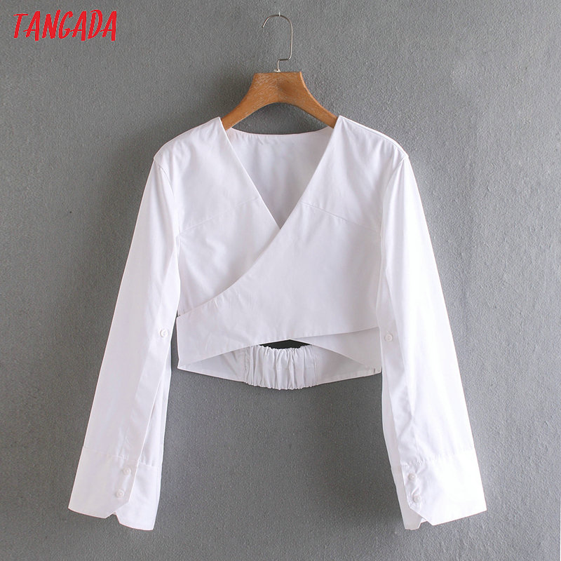 Tangada Women Sexy White Crop Blouse Long Sleeve 2020 New Arrival Chic Female Backless Shirt Tops 2XN178