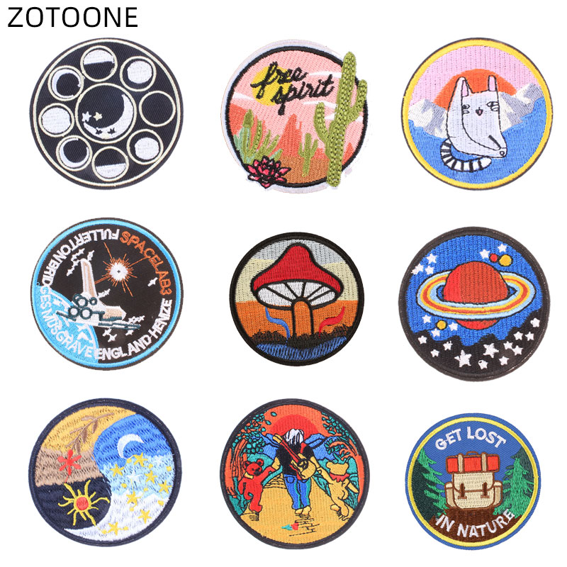 ZOTOONE Sew on Round Patch for Clothes Jeans Badge Cosmic Planet Embroidered Patches for Clothing DIY for Kids Fabric Applique G