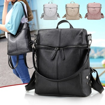 2021 New High Quality Leather рюкзак Women Shoulder Bags Multifunction Travel Backpack School Bags for Girls Bagpack mochila image