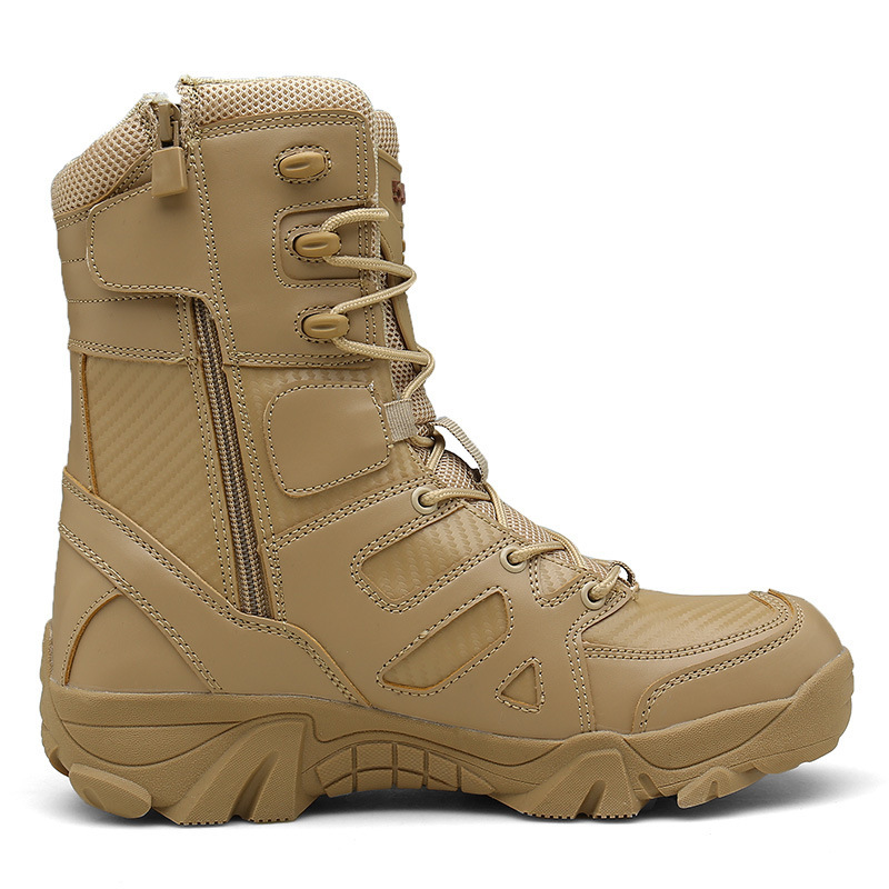Cross-Border For Plus-sized Outdoor Hight-top Waterproof Combat Boots Wear-Resistant Tactical Boots Sand Desert Boots Anti-Slip