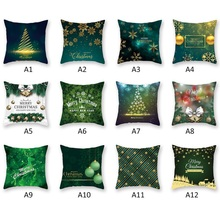 Christmas Series Throw Pillow Cover Soft Peach Velvet Decorative Pillowcase With Zipper Holiday Home Decorations