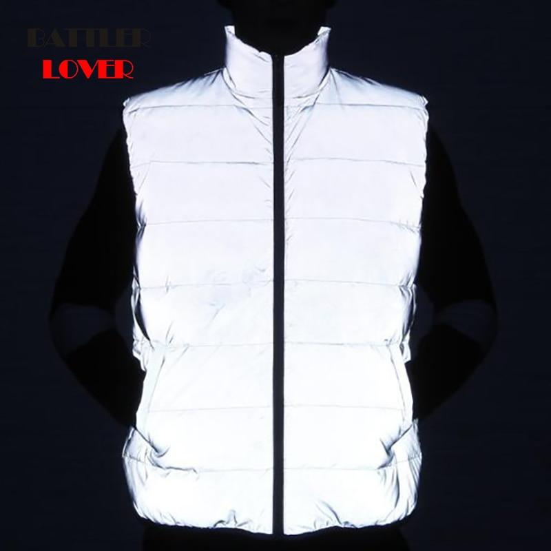 2019 Reflective 3M Men Sleeveless Jacket Winter Ultralight 90% White Duck Down Vest Male Slim Vest Mens Windproof Warm Waistcoat