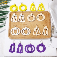 цена на Korean Double Layer Wood Drop Earrings For Women Yellow Purple White Geometric Round Square Dangle Earrings Girls Jewelry Gift