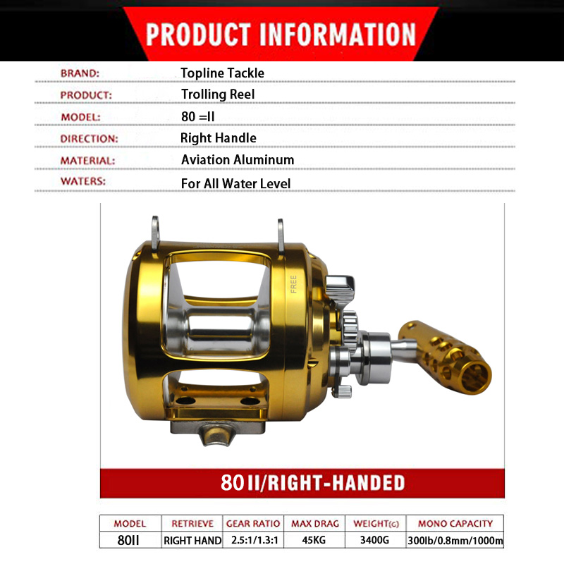 80 trolling reel specification