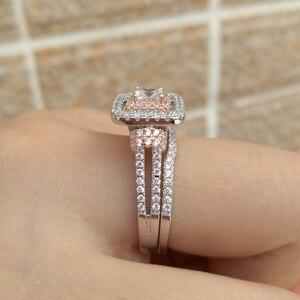 Image 5 - Newshe kobiet stałe 925 Sterling Silver Halo różowe złoto kolor zestaw obrączek ślubnych niebieskie kamienie boczne Upmarket biżuteria BR0760