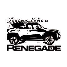 Living Als Een Renegade Logo Grafische Vinyl Decal Sticker Voertuig Achter Suv