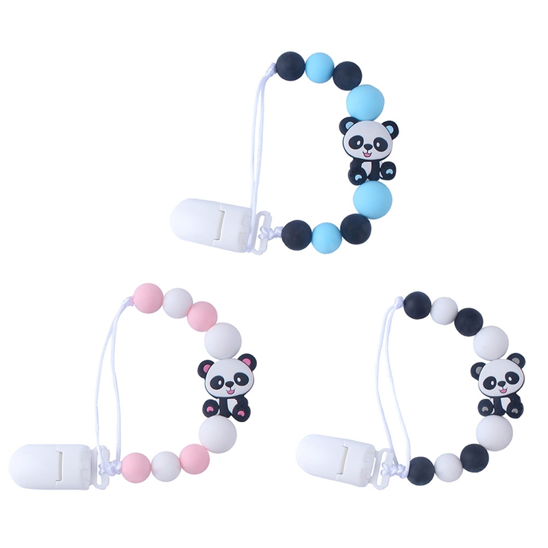 Cute Cartoon Bear Charms Toys Teether Pacifier Baby Pacifier Clip Chains Anti-Drop Chain Holder Baby Nipple Feeding