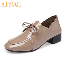 AIYUQI Brand Womens Shoes 2019 New Autumn With Thick Heels Lace-up Brogues Patent Leather