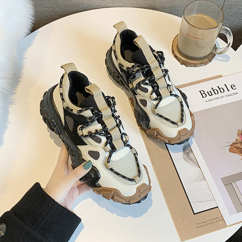 Spring Women Platform Chunky Sneakers INS Fashion Female Mixed Colors Lace Up Trainers Ladies Running Comfortable Casual Shoes