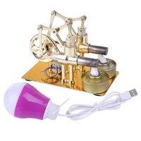 Motor stirling metal duplo cilindro lâmpada de combustão externa motor de potência térmica modelo física ciência brinquedo experimento Instrumentos de medição de força     -