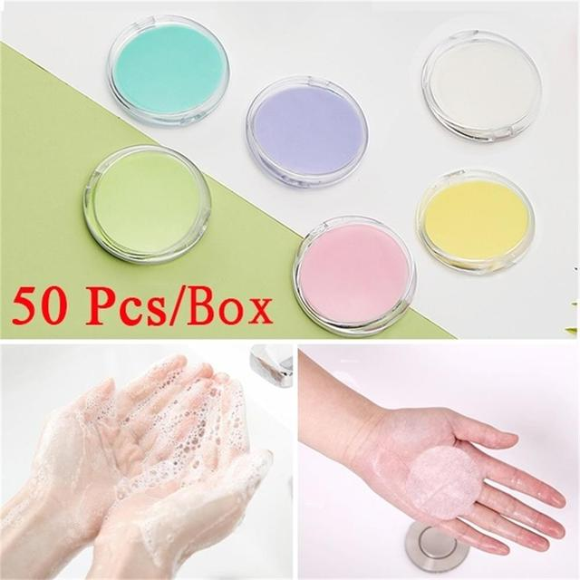 50 Pcs/box Portable Outdoor Travel Soap Paper Washing Hand Bath Clean Scented Slice Sheets Disposable Boxes Soap Mini Paper Soap