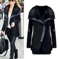 Cashmere Woolen Women Coat Winter Casual Warm Thick Fur Collar Zipper Wool Coat Manteau Femme Abrigos Mujer Plaszcze Damskie
