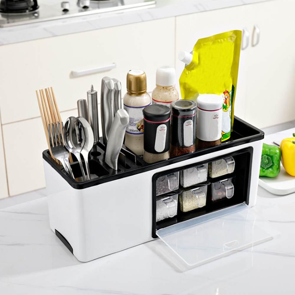 1004.87руб. 45% СКИДКА|Горячая продажа многофункциональный настенный стол стоящая кухонная полка нож контейнер для приправы горшки для специй Коробка органайзер для хранения|Ящики и баки для хранения| |  - AliExpress