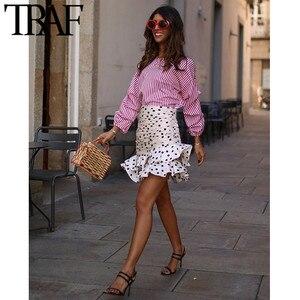 TRAF Women Vintage Polka Dot Ruffles Irregular Fashion Mini Skirt A Line Back Zipper Ladies Short Skirts Casual Faldas Mujer