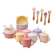 Crianças silicone pratos de jantar tigela copo bebendo colher conjunto comida louça para crianças sucção copo fixação alimentação tigelas bpa