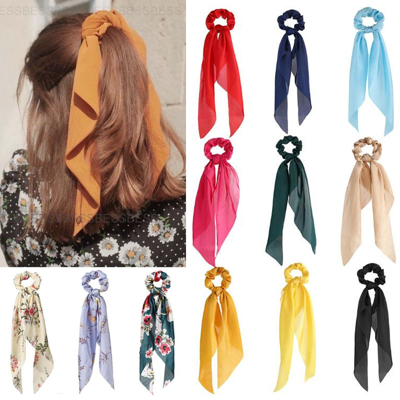 Women Scrunchies Print Hair Rope Long Hair Ribbon Bow For Girls Ponytail Scarf Sweet Elastic Hair Bands Hair Accessories Holiday