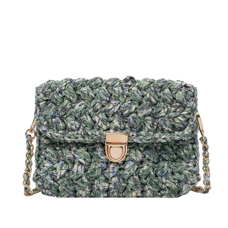 Lady Fashion Knitted Material Bag Hand Woven Chain Oblique Span Bag Autumn Winter Warm Crochet Briefcases
