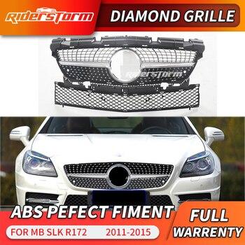 For Mercedes SLK Class  R172 Diamond Grille Auto Front Vertical Grid 2012-2016 SLK200 SLK250 SLK300 SLK350 Chrome Black diamond