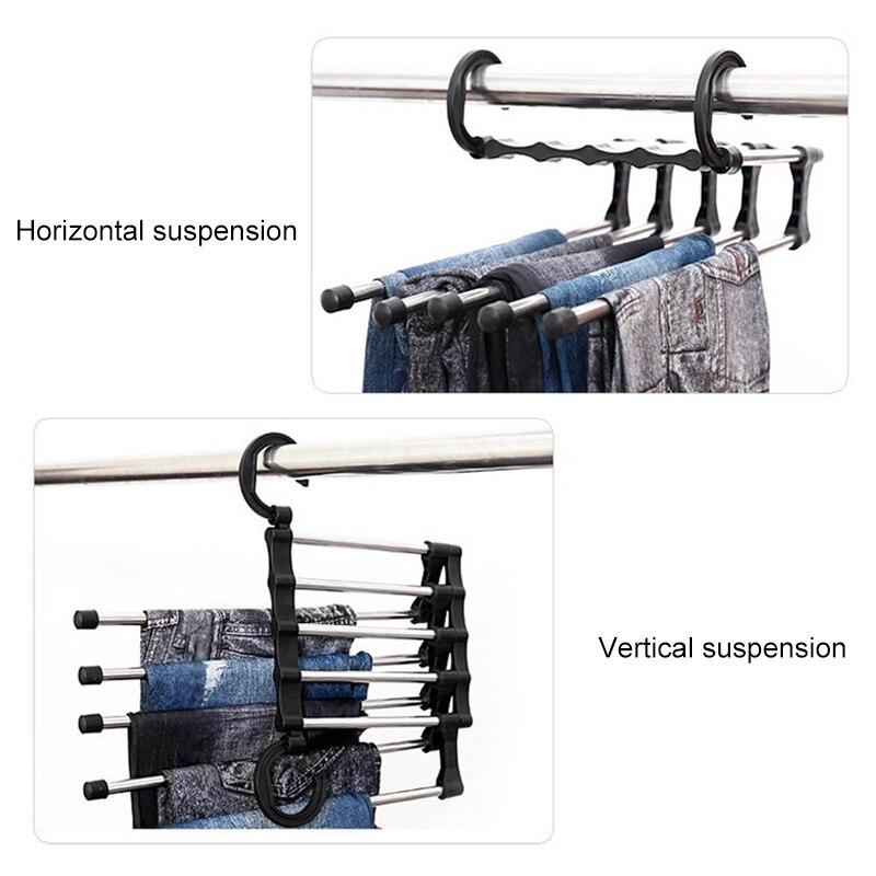 Koisy 2 Piezas Pantalones Estantes Rack 5 en 1 Almacenamiento Multifuncional Pantalones Perchas Ahorro de Espacio