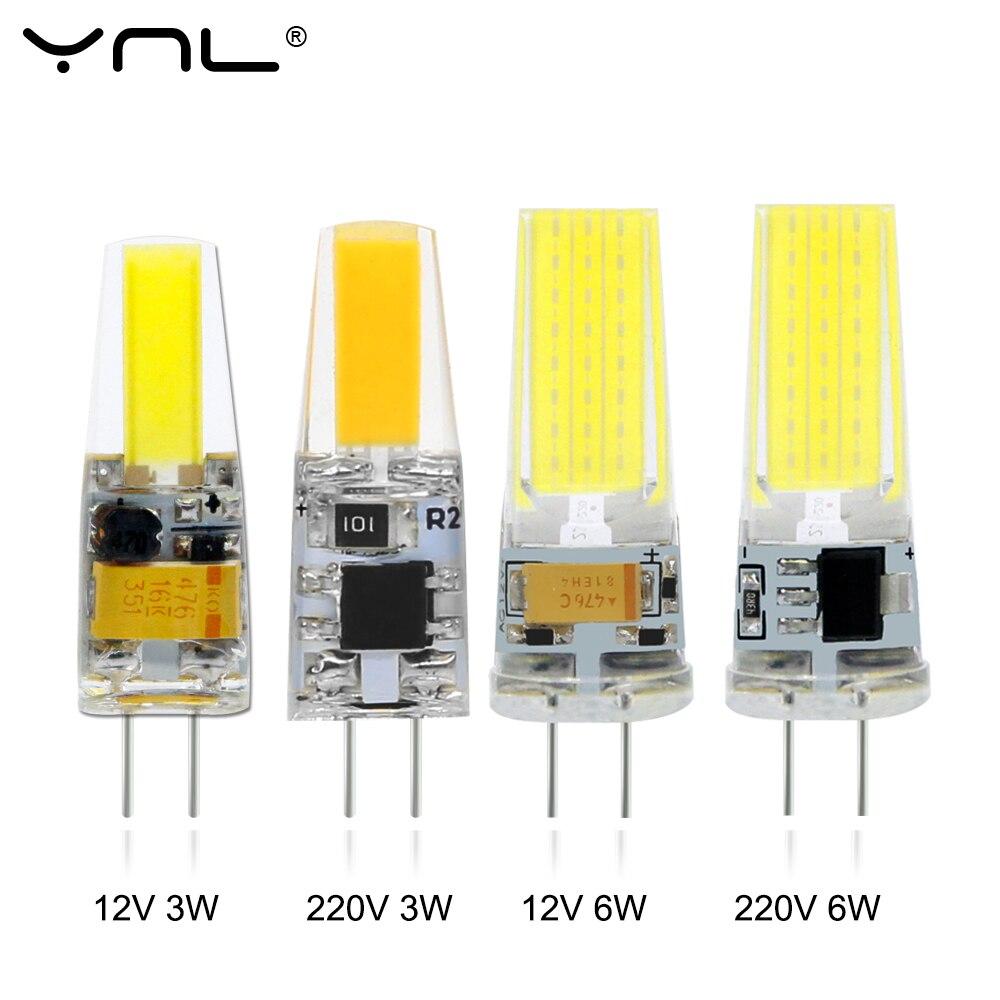 Светодиодная COB-лампа G4, 12 В постоянного тока, 220 В переменного тока, 3 Вт, 6 Вт, миниатюрная Затемняющая Светодиодная лампа G4, светодиодное осв...
