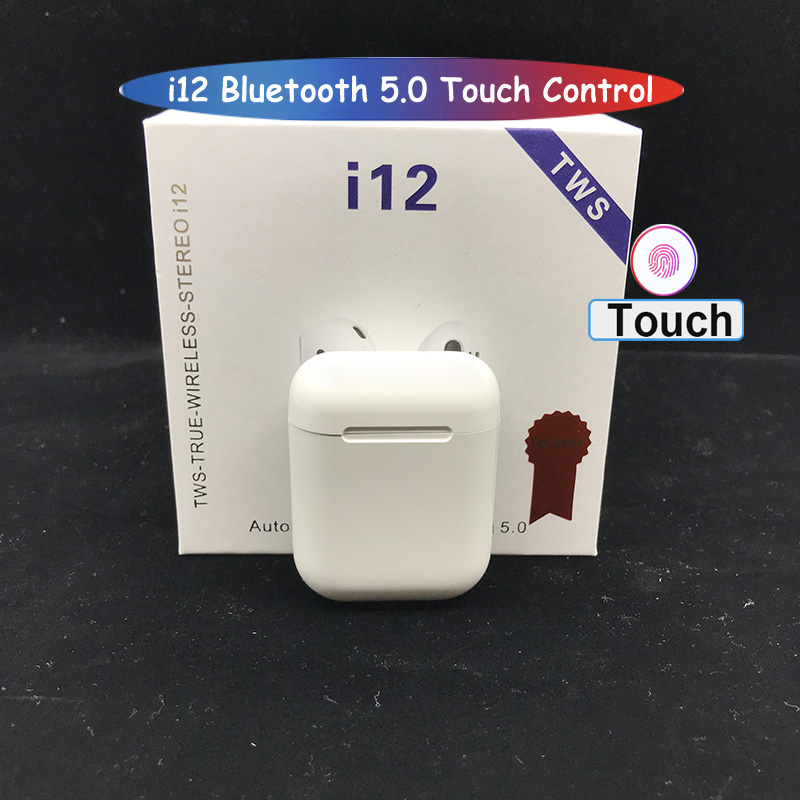 Touch Control i12 <font><b>Tws</b></font> Wireless Mini Earbuds <font><b>Bluetooth</b></font> 5.0 Earphone Sport Headset With Mic Charging Box for i20 i13 i14 For phone image