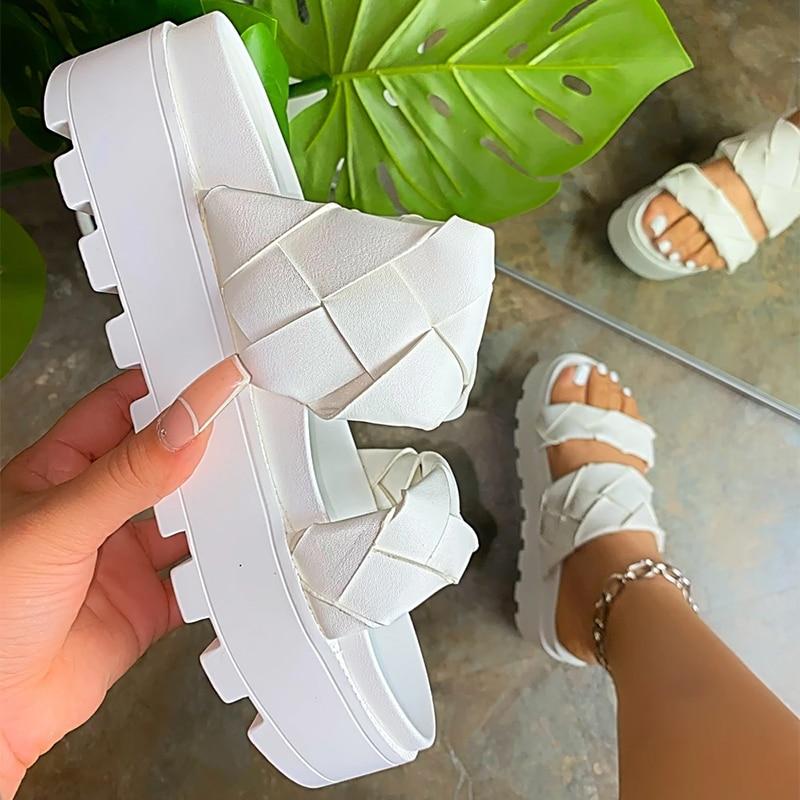 Women's Sandals Summer Flat Shoes 2021 Female Casual Wedge Slides Sandal Woman Platform Shoes Ladies Outdoor Beach Footwear