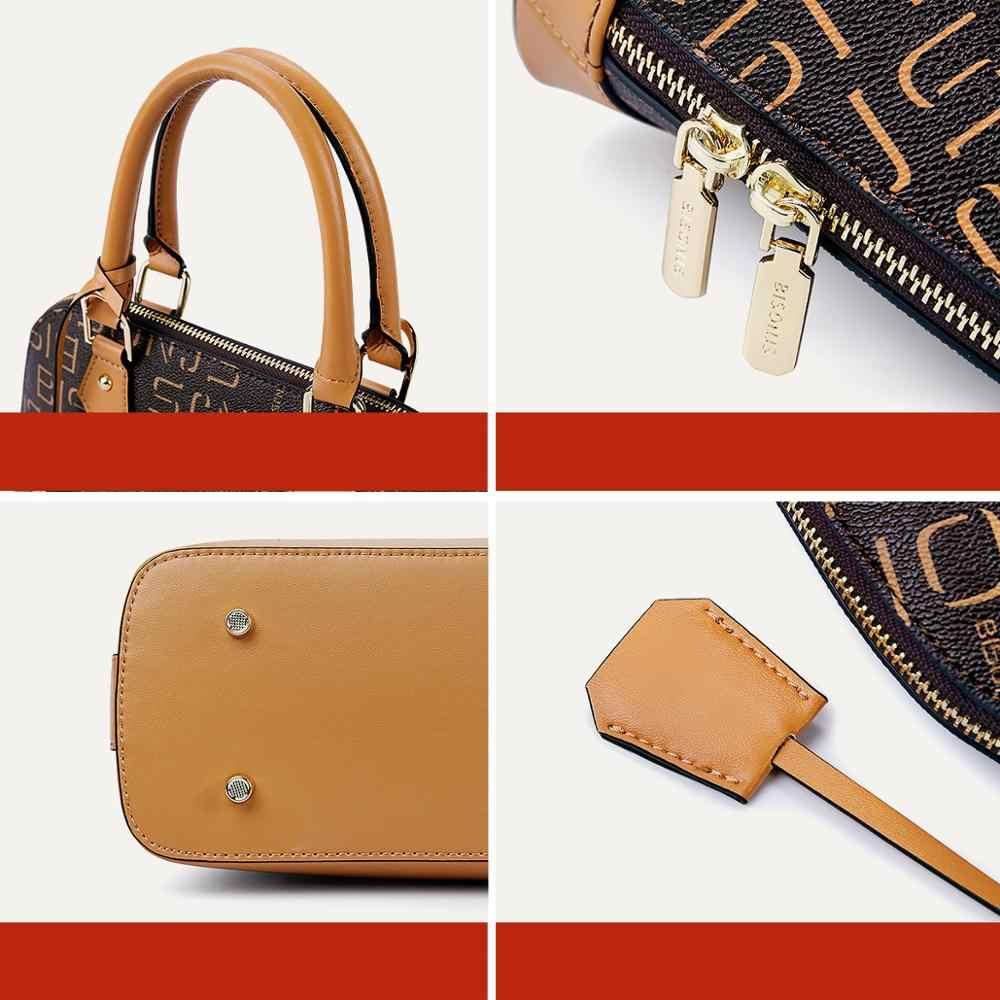 BISONJS Kualitas Tinggi PVC Tas Mewah Tas Tangan Desain Wanita Tote Tas Casual Top-Handle Bag Wanita Tas Bahu b1912