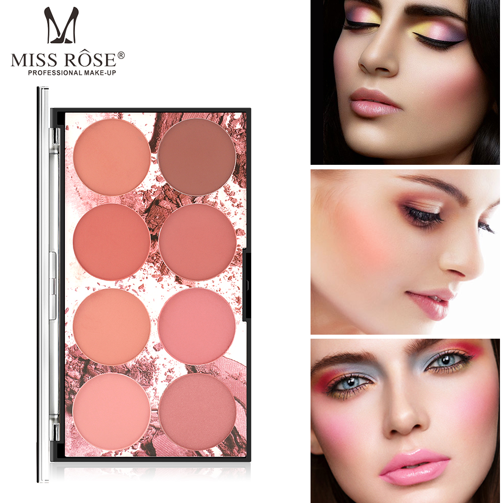 8 Colors MISS ROSE Blush Palette Face Mineral Pigment Palette Blusher Powder Professional Makeup Blush Contour Shadow