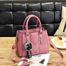 все цены на Embroidery Totes Handbags for Women Lady Leather Shoulder Messenger Bags 2019 Sac a Main Ladies Hair Ball Hand Bag New Fashion онлайн
