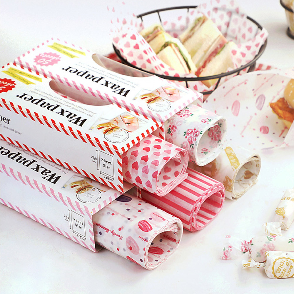 50pcs/Lot Wax Paper Food Grade Grease Paper Food Wrappers Wrapping Paper For Bread Sandwich Burger Fries Oilpaper Baking Tools title=