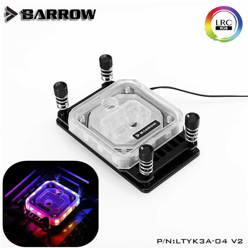 Barrow For Ryzen <font><b>AMD</b></font>/AM4/<font><b>AM3</b></font> <font><b>CPU</b></font> Water Block, LRC RGB v2 Acrylic Microcutting Microwaterway Water Cooling Block LTYK3A-04-V2 image