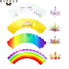 24 pcs/lot Unicorn Cupcake Wrappers Toppers Rainbow Kids Party Birthday Decoration Wedding Supply Cake Cups(12 wraps+12 topper)