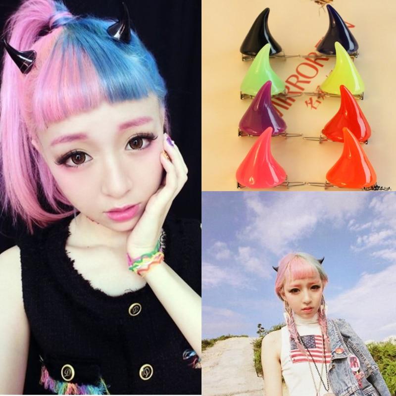 1 Pair/set Devil Horns Hair Clip Rainbow Colors Cosplay Accessories Unisex Lovely Headwear Hair Clip Stage Show Halloween