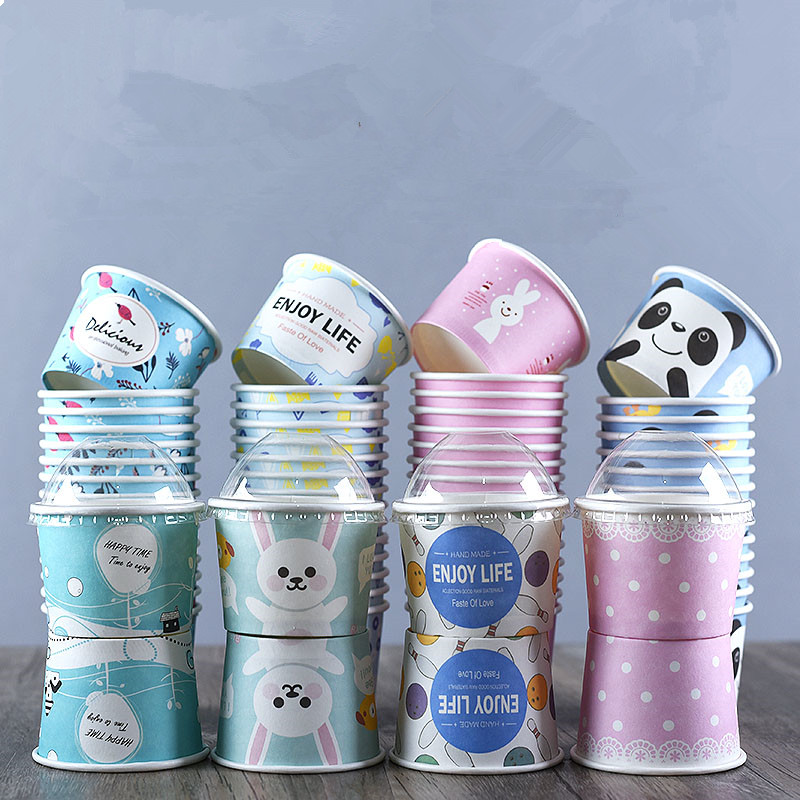 50pcs High Quality Cartoon Ice Cream Bowl 200ml Small Round Disposable Paper Cups Birthday Party Favors Dessert Cup With Lid
