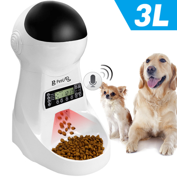 3L Automatic Dog Cat Feeder Pet Food Dispenser With Voice Record Pet Dog Cat Drinking Feeding Bowl LCD Screen Dry Food Bowls