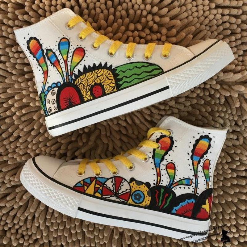 US4 11 Women Preppy Canvas Flats High Top Sneakers Casual Graffiti Painting Shoes Breathable Rainbow Colors New Summer Plus Size