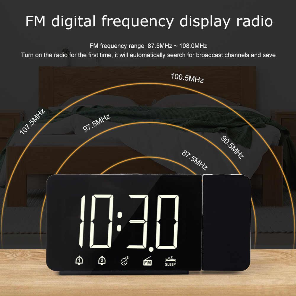 Fanju LED Đồng Hồ Báo Thức Kỹ Thuật Số Đồng Hồ Để Bàn Điện Tử Máy Tính Để Bàn Đồng Hồ Đánh Thức Đài FM Thời Gian Máy Chiếu Chức Năng Báo Lại