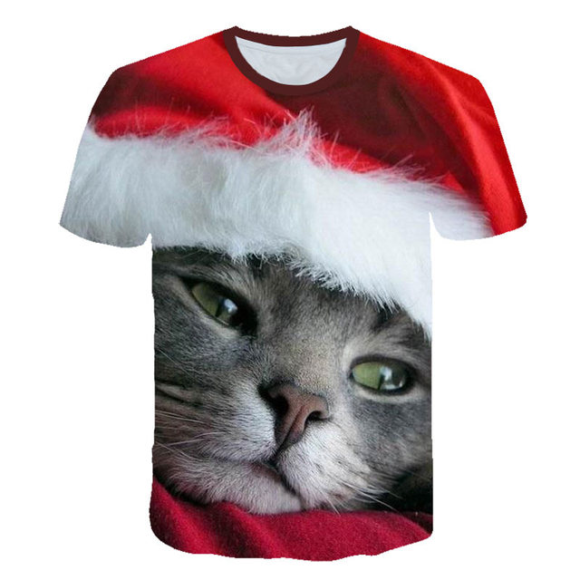 2019 3D printed cartoon Santa cat/Pikachu/Simpson/children's T shirt summer fashion boys and girls fun short-sleeved top