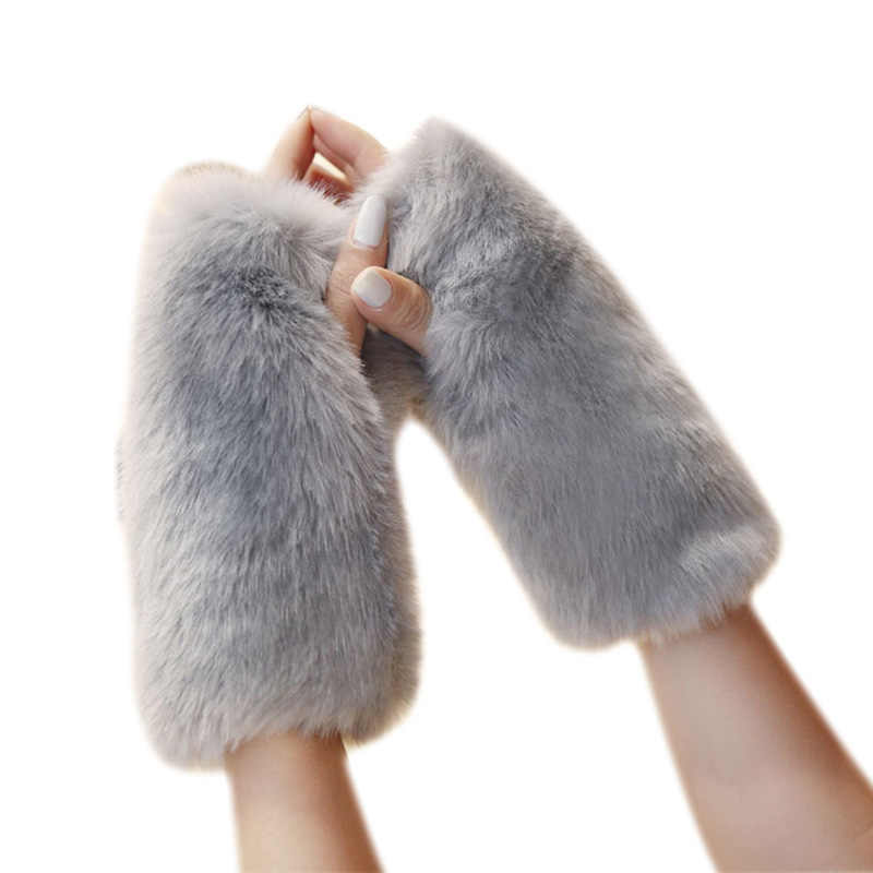 Long Cuffs Faux Fur Rabbit Hair Women's Mittens Fhick Plush Gloves Without Fingers Fashion Ladies Fluffy Fur Winter Warm Gloves