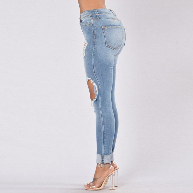 Hole Jeans Woman 2020 Stretch Denim Trousers High Waist Skinny Pencil Pants Slim Distressed Jeggings Femme Black Blue Army-Green 3