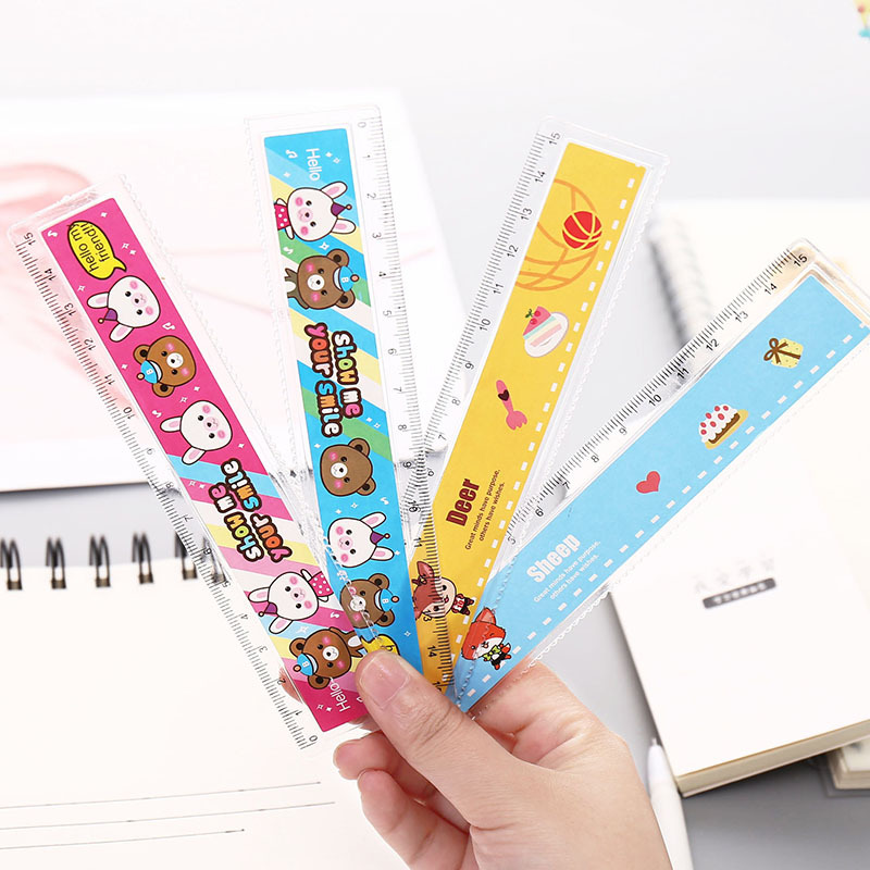 Wholesale 60pcs Cute Cartoon Bear Fox Dear Ruler Kawaii Accessories Kpop Stationery Ruler 15cm Drafting Supplies Cute 6' Rulers