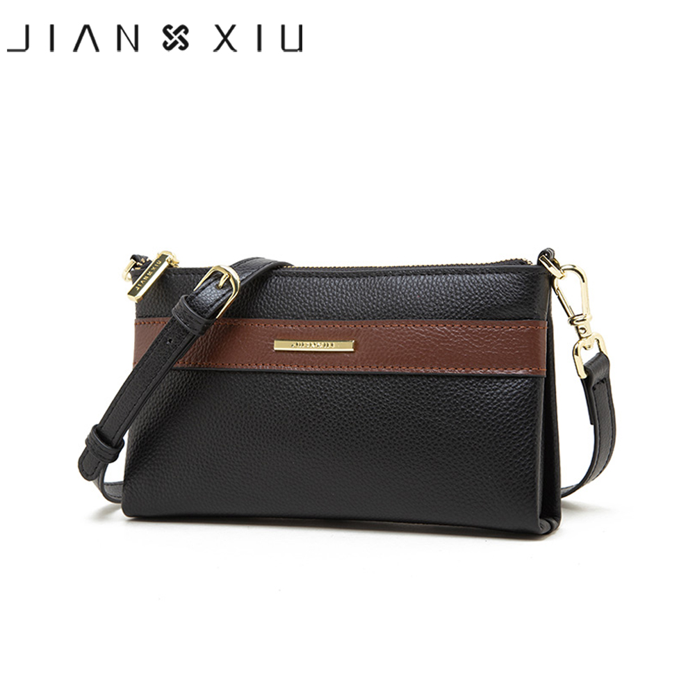 JIANXIU Brand Women Messenger Bags Soft Genuine Leather Shoulder Bag Lychee Texture Pattern Purse 2019 Small Ladies Clutch Tote