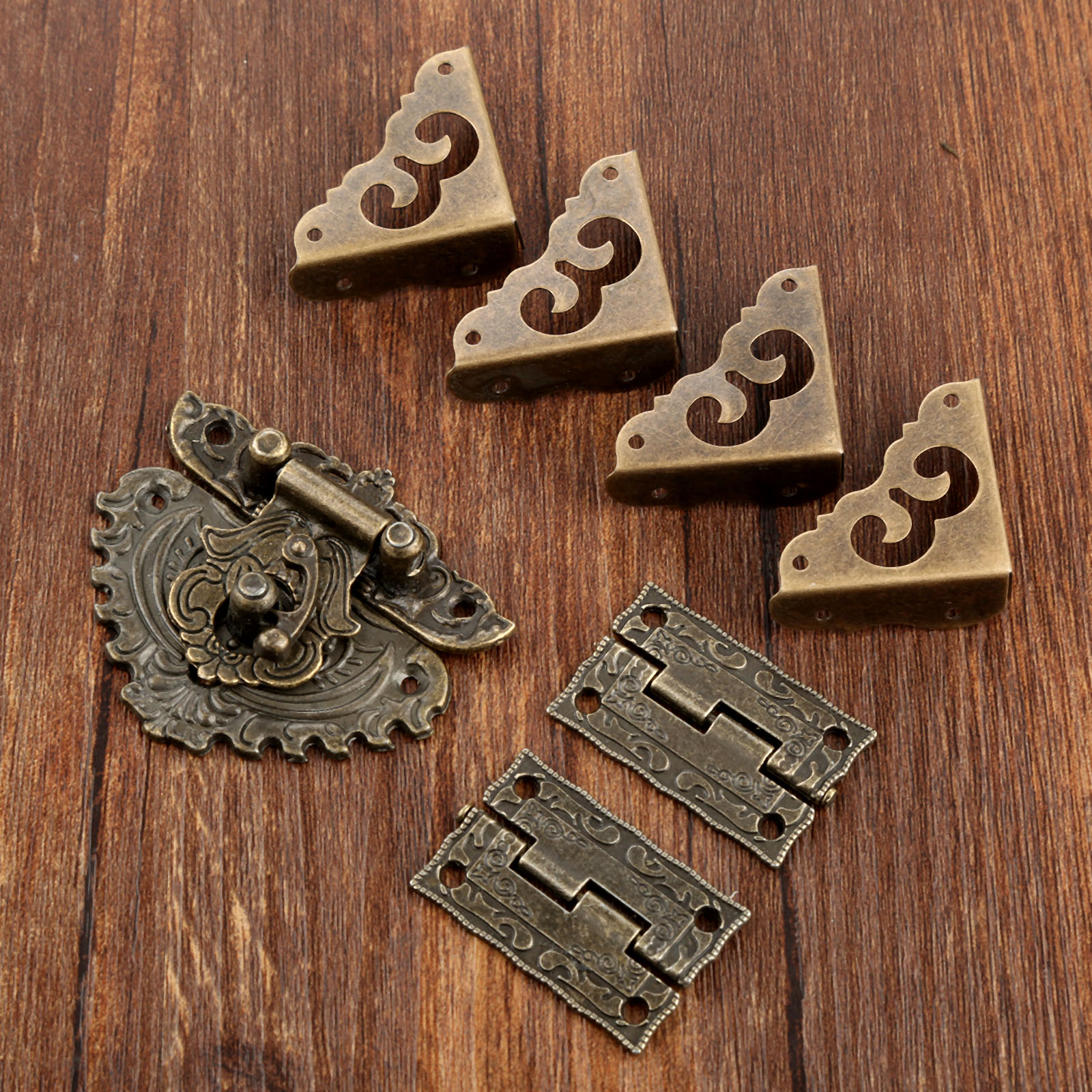 Antique Box Latch Hasp Toggle Buckle  2Pcs Cabinet Hinges 4Pcs Corner Decorative Protectors For Jewelry Wooden Box Hardware