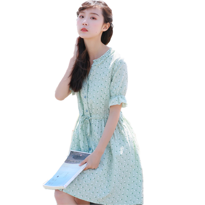 2020 Sundress For School Cute Girls Printed Flower Loose Mid-Length Short-Sleeve Single Breasted Linen Cotton School Dress