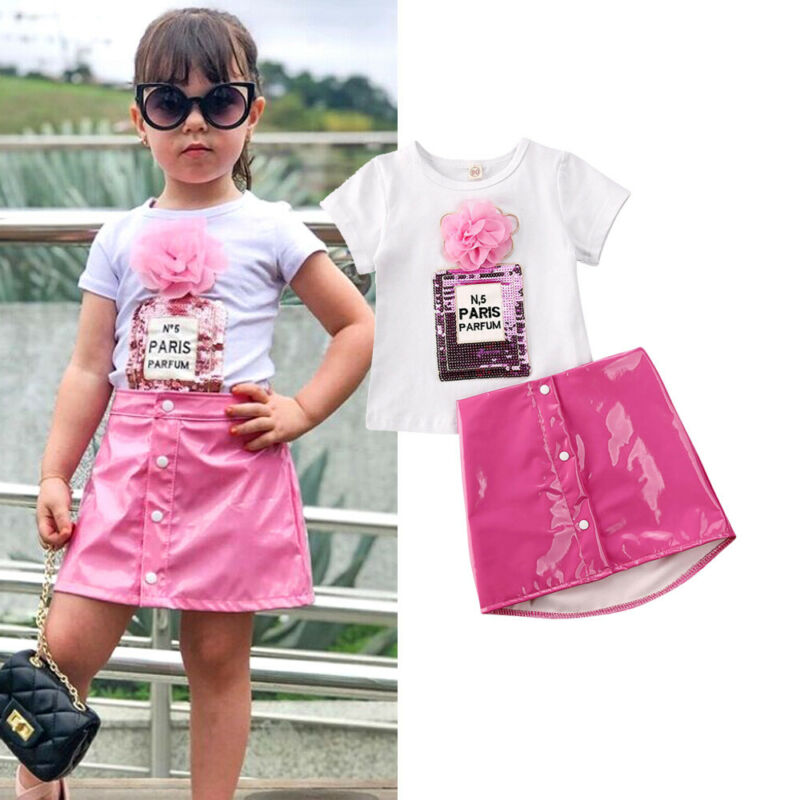 1-5 Years Kids Baby Girl Clothes Sets Short Sleeve 3d Flower Tops Tee Pink Leather A-Line Skirts Girls Clothing Kids Outfit Set