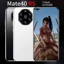 7.3 Polegada mate40 rs tela gota de água smartphones impressão digital face id deca núcleo 6800mah andriod 10.0 versão global celular